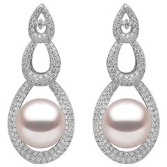 Yoko London South Sea Pearl and Diamond Drop Earrings in 18 Karat White Gold