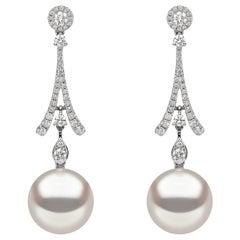 Yoko London South Sea Pearl and Diamond Drop Earrings in 18 Karat White Gold