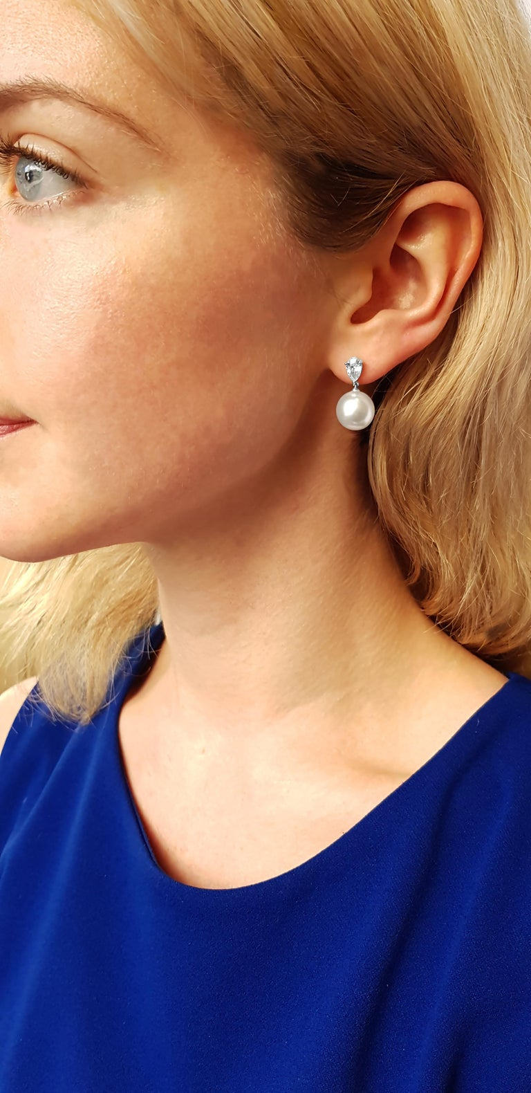 Contemporary Yoko London South Sea Pearl and Diamond Drop Earrings Set in 18 Karat White Gold For Sale