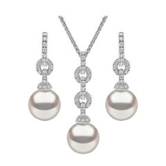Yoko London South Sea Pearl and Diamond Earring and Pendant Set, 18 Karat Gold