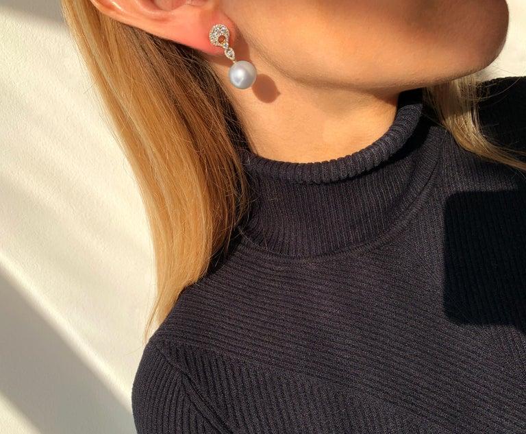 Modern Yoko London South Sea Pearl and Diamond in 18 Karat Yellow Gold Earrings For Sale