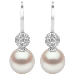 Yoko London South Sea Pearl and Diamond Earrings in 18 Carat White Gold
