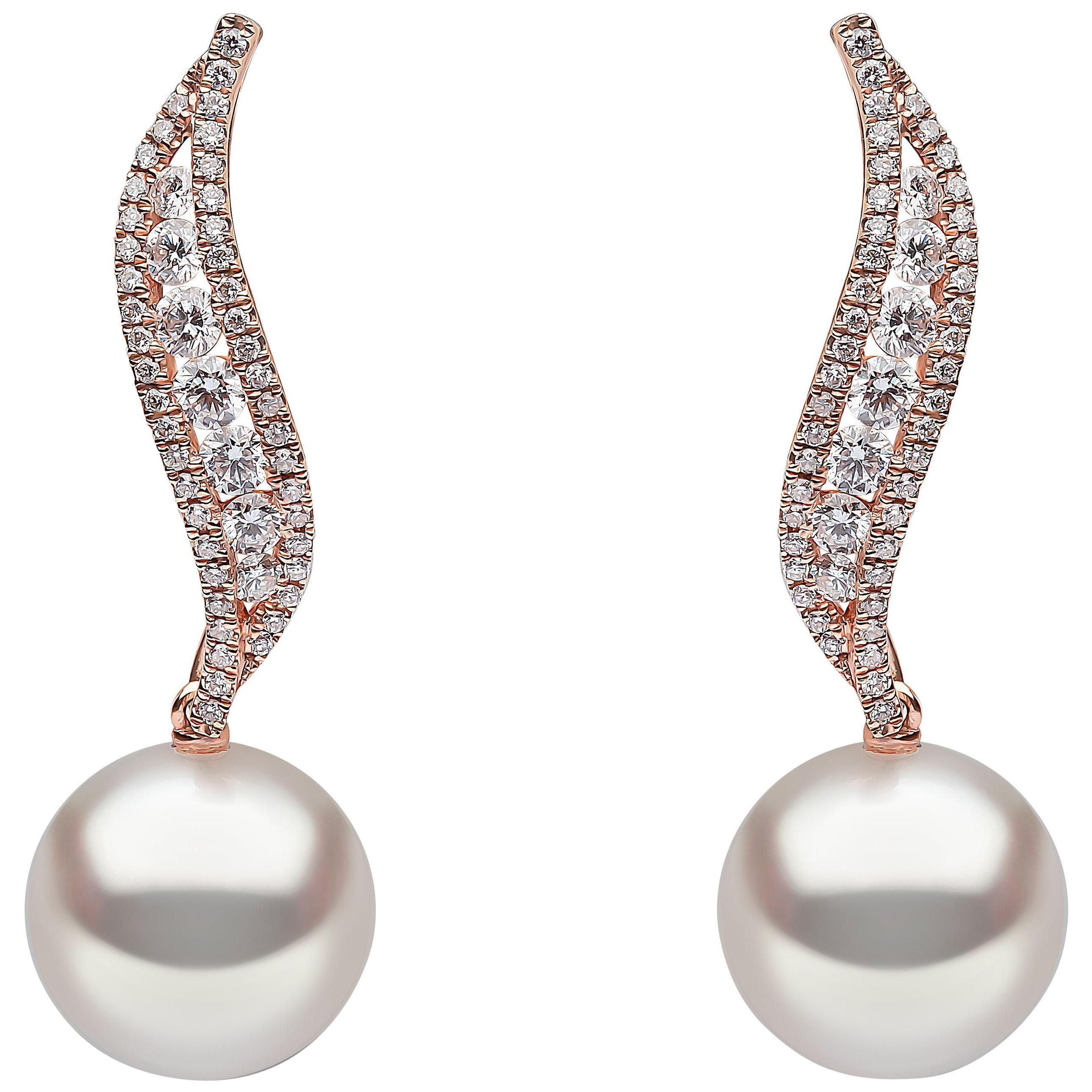 Yoko London South Sea Pearl and Diamond Earrings in 18 Karat Rose Gold