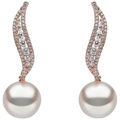 Yoko London South Sea Pearl and Diamond Earrings in 18 Karat Rose Gold