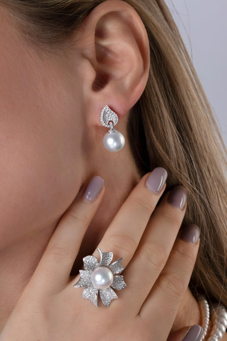 Contemporary Yoko London South Sea Pearl and Diamond Earrings in 18 Karat White Gold