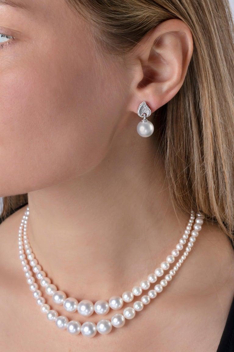 Round Cut Yoko London South Sea Pearl and Diamond Earrings in 18 Karat White Gold