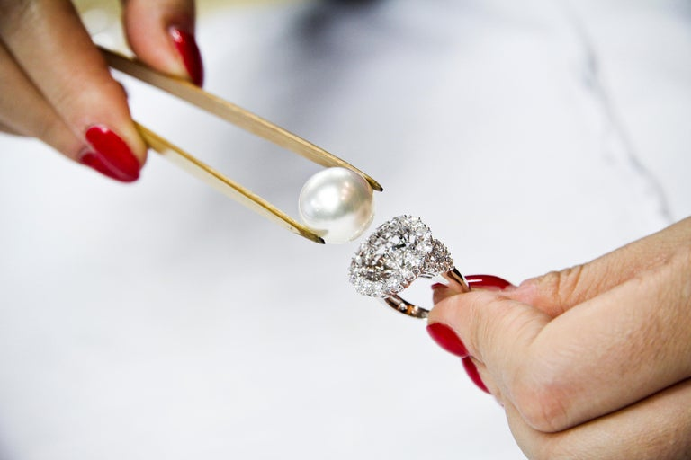 Women's Yoko London South Sea Pearl and Diamond Earrings in 18 Karat White Gold