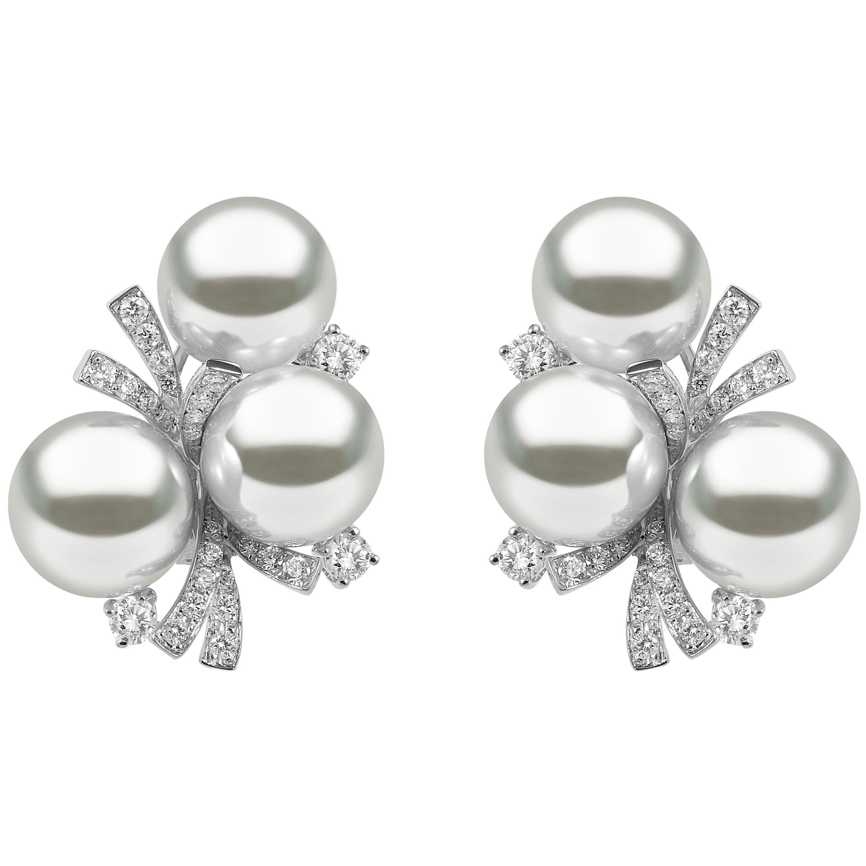 Yoko London South Sea Pearl and Diamond Earrings in 18 Karat White Gold