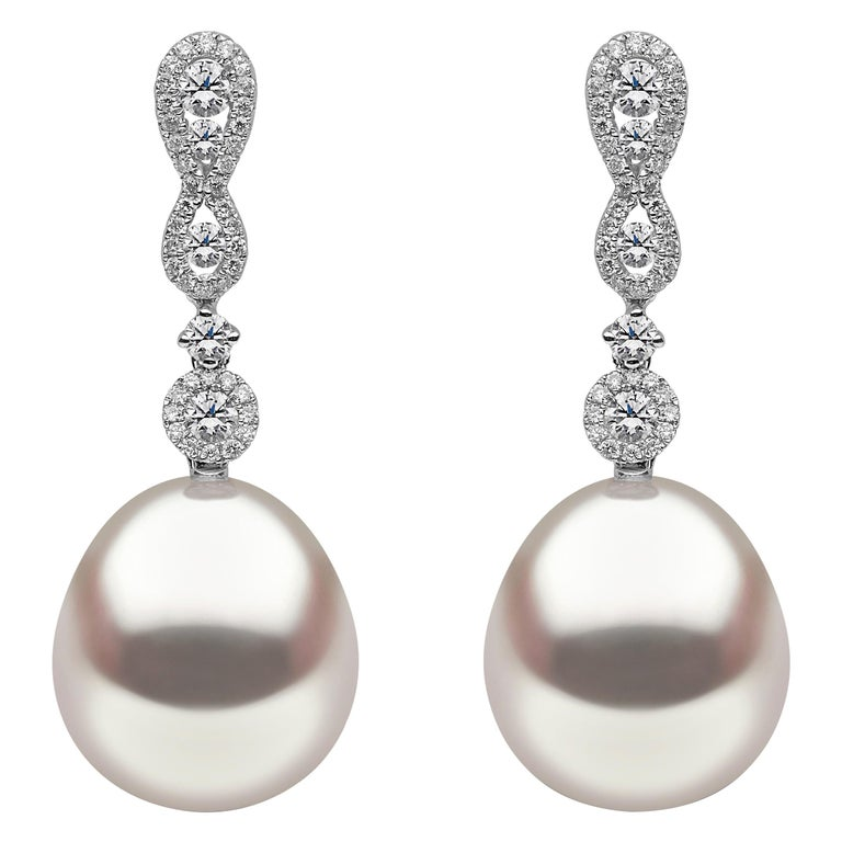 Yoko London South Sea Pearl and Diamond Earrings in 18 Karat White Gold For Sale