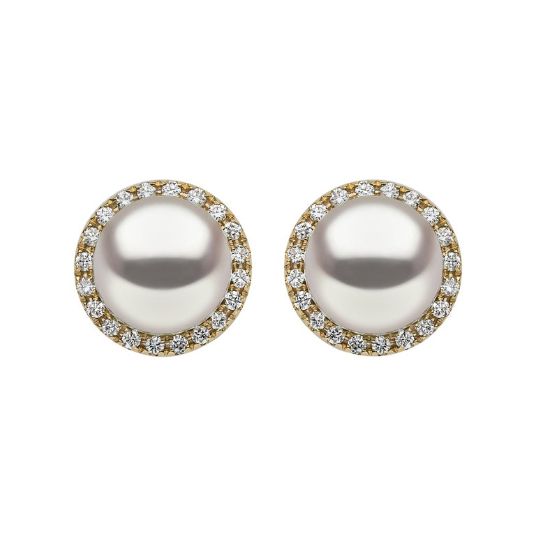 Yoko London South Sea Pearl and Diamond Earrings in 18 Karat Yellow Gold For Sale