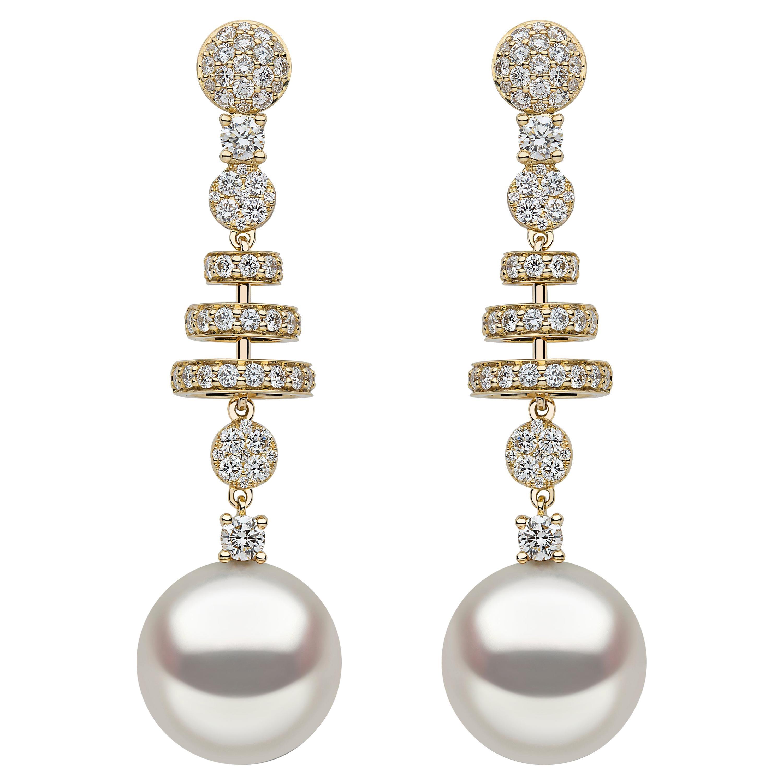 Yoko London South Sea Pearl and Diamond Earrings in 18 Karat Yellow Gold