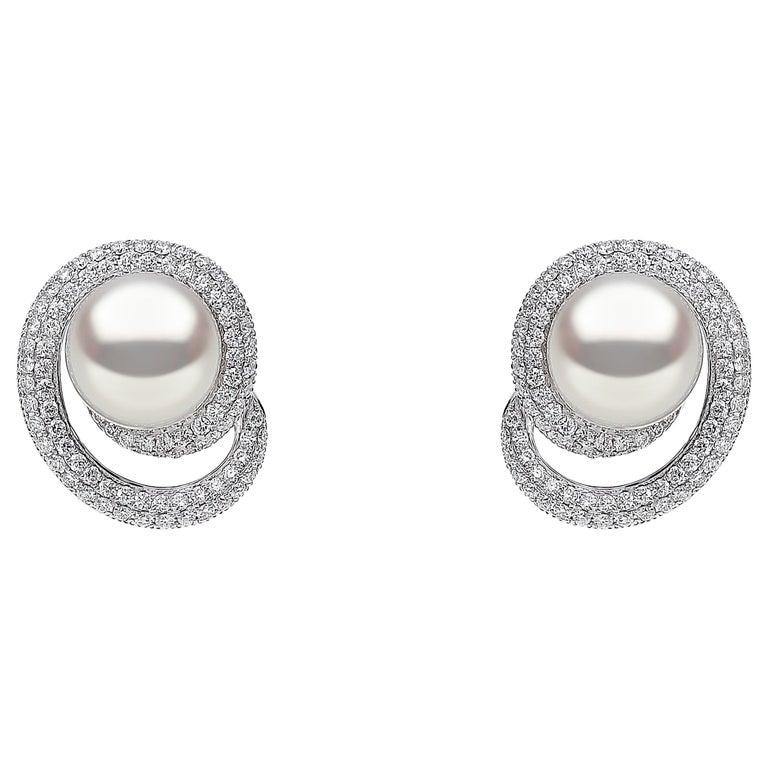 Yoko London South Sea Pearl and Diamond Earrings in 18 Karat White Gold For Sale