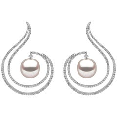 Yoko London South Sea Pearl and Diamond Earrings Set in 18 Karat White Gold