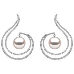 Yoko London South Sea Pearl and Diamond Earrings Set in 18 Karat White Gold