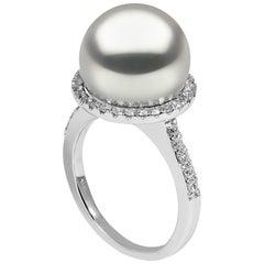 Yoko London South Sea Pearl and Diamond Halo Ring in 18 Karat White Gold