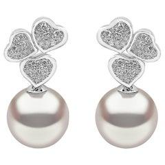 Yoko London South Sea Pearl and Diamond Heart Earrings in 18 Karat White Gold