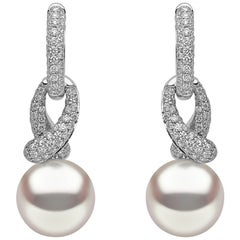 Yoko London South Sea Pearl and Diamond Hoop Earrings in 18 Karat White Gold