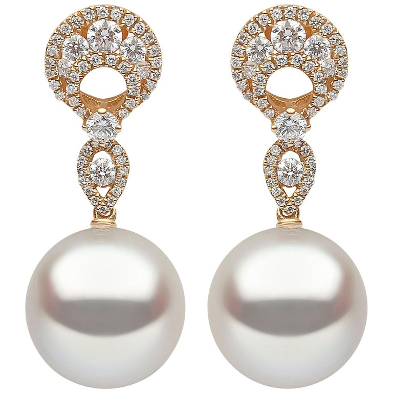 Yoko London South Sea Pearl and Diamond in 18 Karat Yellow Gold Earrings For Sale