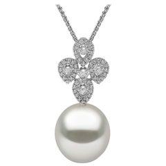 Yoko London South Sea Pearl and Diamond Necklace Set in 18 Karat White Gold