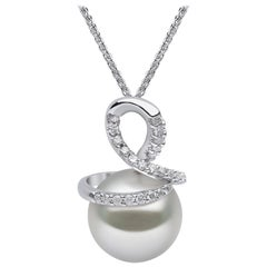 Yoko London South Sea Pearl and Diamond Pendant Set in 18 Karat White Gold