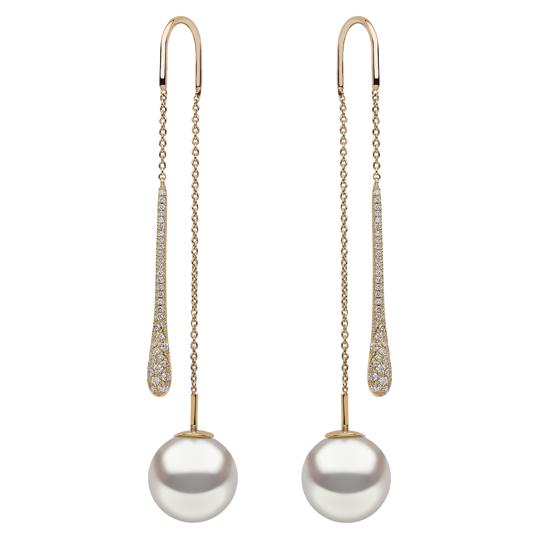 Yoko London South Sea Pearl and Diamond Pendulum Earrings in 18 Karat Gold