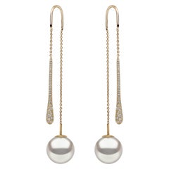 Yoko London South Sea Pearl and Diamond Pendulum Earrings in 18 Karat Gold