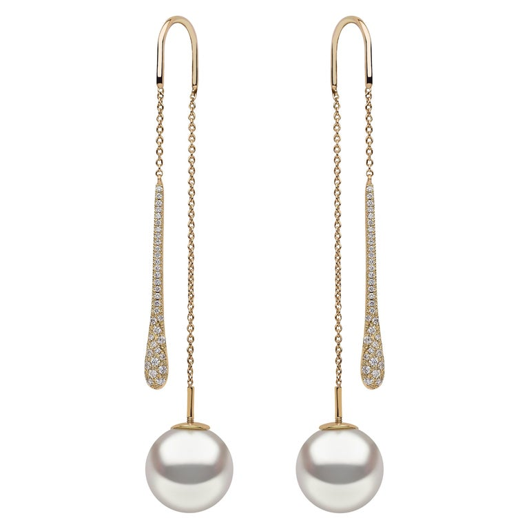 Yoko London South Sea Pearl and Diamond Pendulum Earrings in 18 Karat Gold For Sale