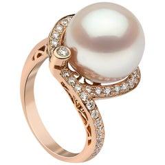 Yoko London South Sea Pearl and Diamond Ring in 18 Karat Rose Gold