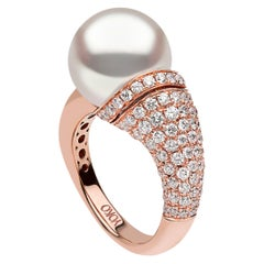 Yoko London South Sea Pearl and Diamond Ring in 18 Karat Rose Gold