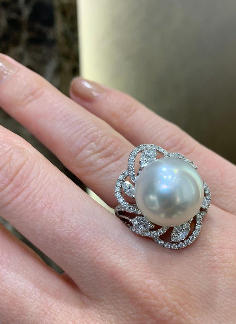 Modern Yoko London South Sea Pearl and DIamond Ring in 18 Karat White Gold For Sale