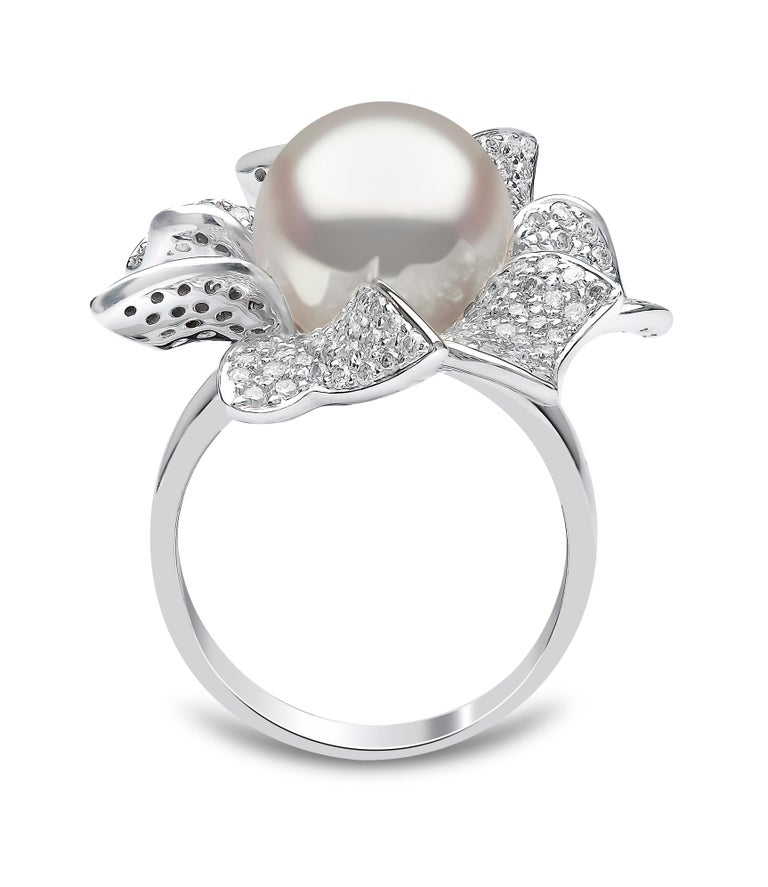 Round Cut Yoko London South Sea Pearl and Diamond Ring in 18 Karat White Gold For Sale