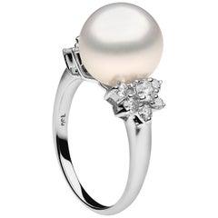 Yoko London South Sea Pearl and Diamond Ring in 18 Karat White Gold