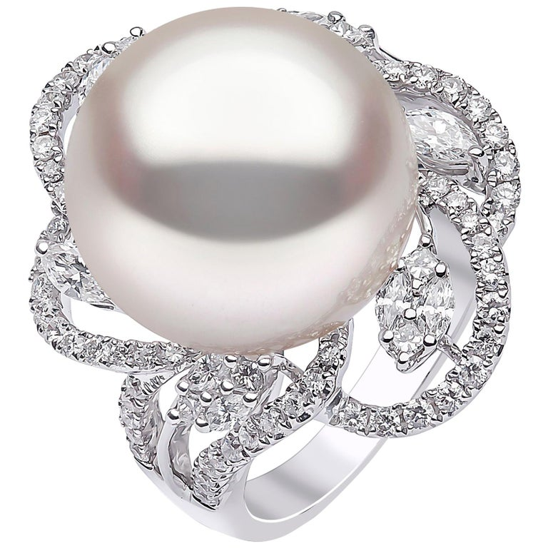 Yoko London South Sea Pearl and DIamond Ring in 18 Karat White Gold For Sale