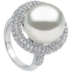 Yoko London South Sea Pearl and Diamond Ring in 18 Karat White Gold