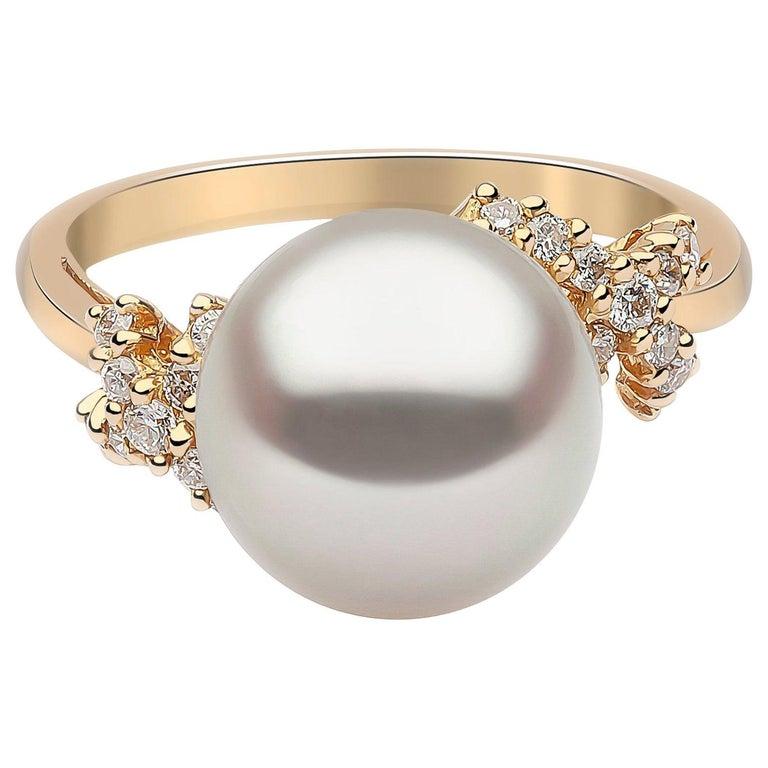 Yoko London South Sea Pearl and Diamond Ring in 18 Karat Yellow Gold For Sale