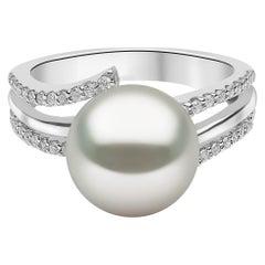 Yoko London South Sea Pearl and Diamond Ring, Set in 18 Karat White Gold