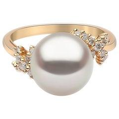 Yoko London South Sea Pearl and Diamond Ring Set in 18 Karat Yellow Gold