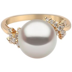Yoko London South Sea Pearl and Diamond Ring Set in 18 Karat Yellow Gold
