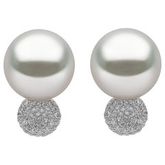 Yoko London South Sea Pearl and Diamond Stud Earrings Set in 18 Karat Gold