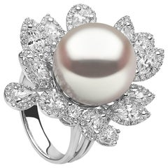 Yoko London South Sea Pearl and Marquise Cut Diamond Ring in 18 Karat White Gold