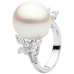 Yoko London South Sea Pearl and Marquise Diamond Ring in 18 Karat White Gold