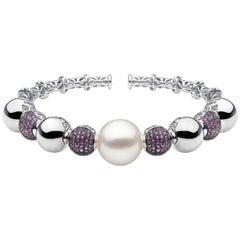 Yoko London South Sea Pearl and Purple Sapphire Bangle in 18 Karat White Gold