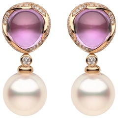 Yoko London South Sea Pearl Diamond and Amethyst Earrings Set in 18 Karat Gold