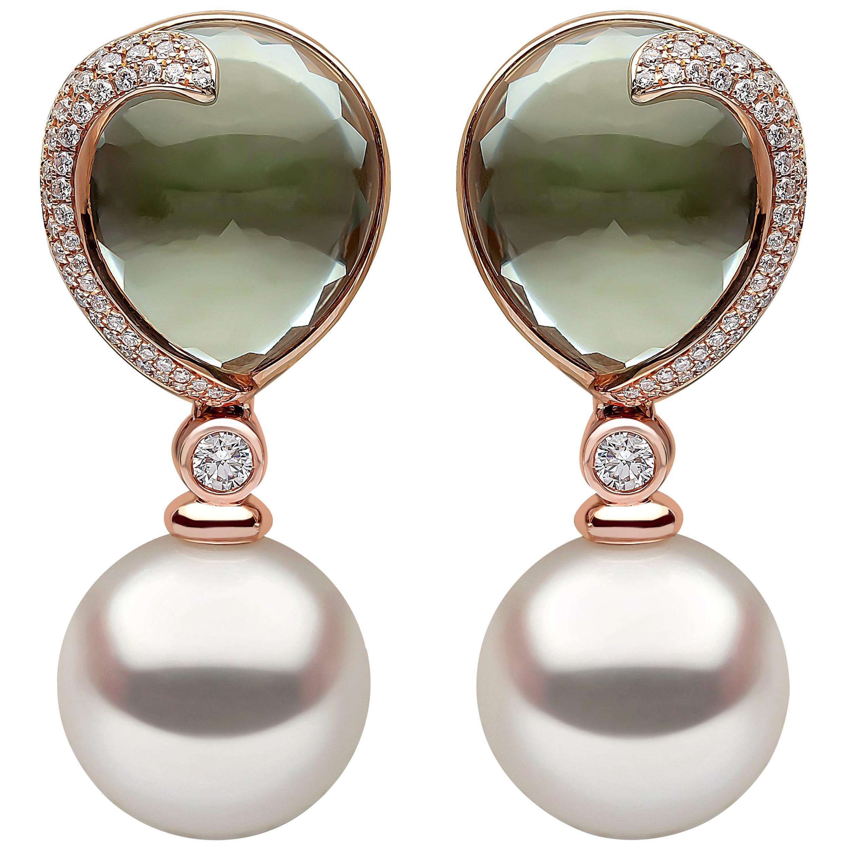 Yoko London South Sea Pearl Diamond and Green Amethyst Earrings in 18 Karat Gold