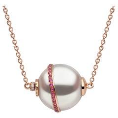 Yoko London South Sea Pearl, Diamond and Ruby Necklace in 18 Karat Rose Gold