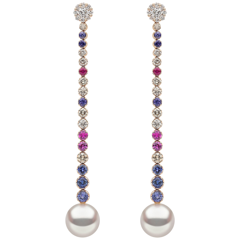 Yoko London South Sea Pearl, Diamond and Sapphire Earrings in 18 Karat Rose Gold