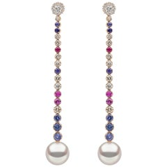 Yoko London South Sea Pearl, Diamond and Sapphire Earrings in 18 Karat Rose Gold