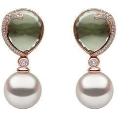Yoko London South Sea Pearl, Diamond & Green Amethyst Earrings, in 18K Rose Gold