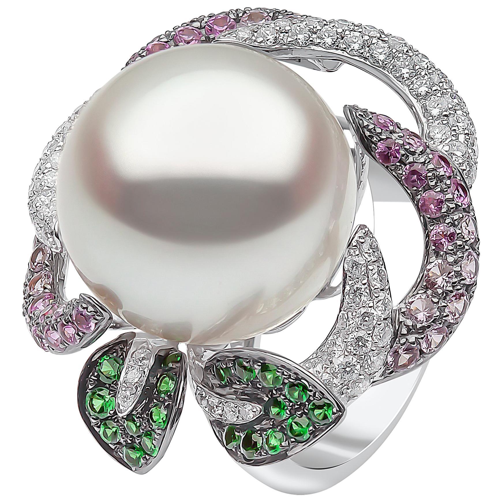 Yoko London South Sea Pearl, Diamond, Sapphire and Garnet Ring in 18 Karat Gold