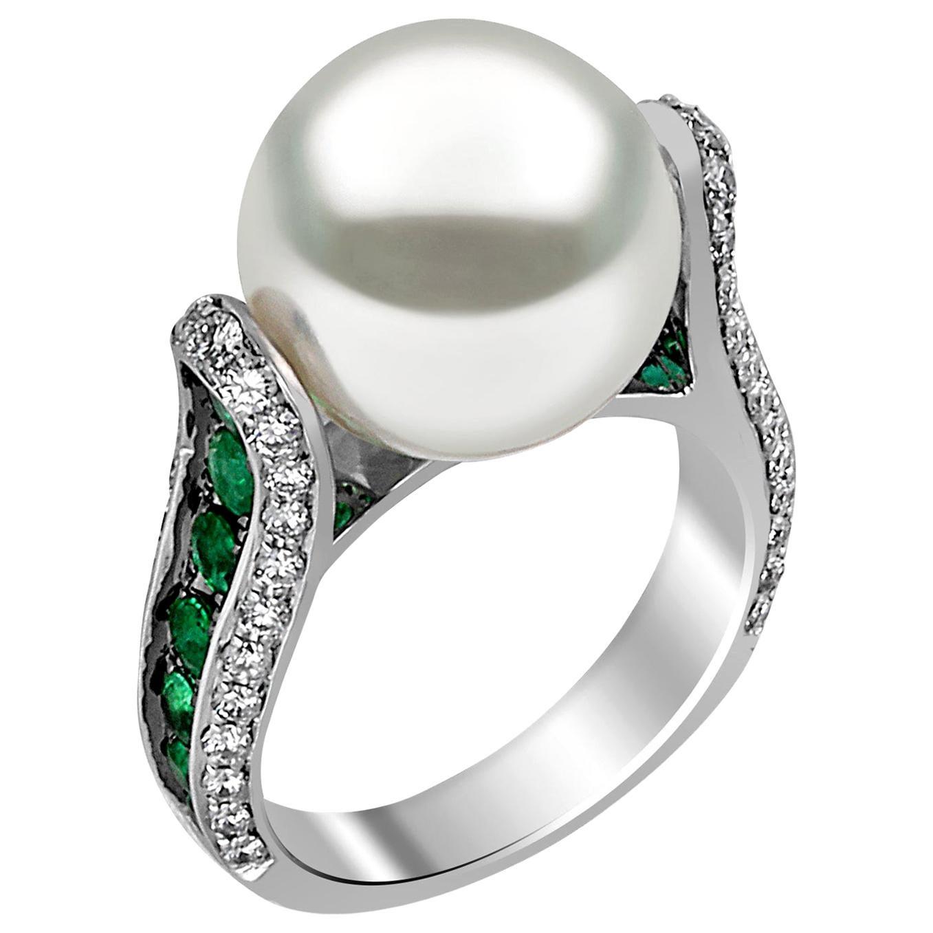 Yoko London South Sea Pearl, Emerald and Diamond Ring in 18 Karat White Gold